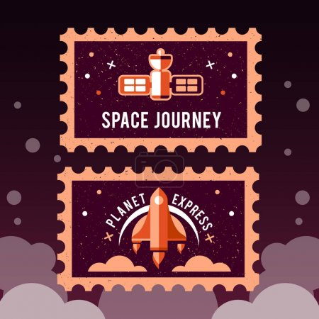 post stamps with space rocket