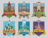 Set of municipal and city characteristic architecture vector color labels Logotype templates badges emblems signs graphic collection Old and modern buildings design town representation symbols