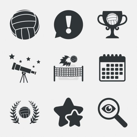 Volleyball and net icons. Winner award cup.