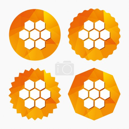 Illustration for Honeycomb sign icon. Honey cells symbol. Sweet natural food. Triangular low poly buttons with flat icon. Vector - Royalty Free Image