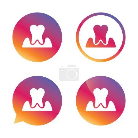 Parodontosis tooth sign icon. Dental care symbol.
