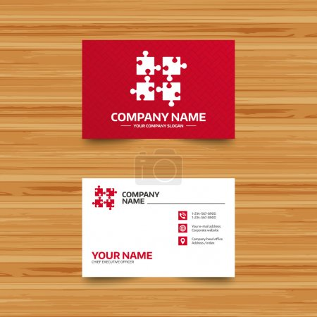 Illustration for Business card template. Puzzles pieces sign icon. Strategy symbol. Ingenuity test game. Phone, globe and pointer icons. Visiting card design. Vector - Royalty Free Image