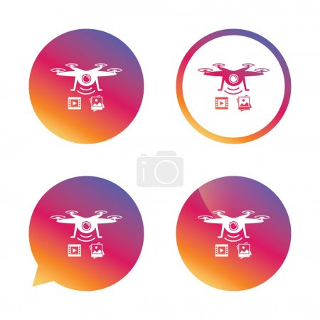 Drone icon. Quadrocopter with video camera.
