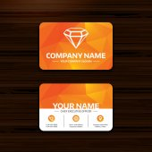 Business or visiting card template Diamond sign icon Jewelry symbol Gem stone Phone globe and pointer icons Vector