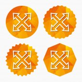 Fullscreen sign icon Arrows symbol Icon for App Triangular low poly buttons with flat icon Vector