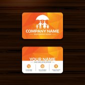 Business or visiting card template Complete family insurance sign icon Umbrella symbol Phone globe and pointer icons Vector