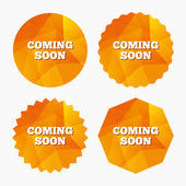 Coming soon icon Promotion announcement symbol