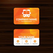 Business or visiting card template Bus sign icon Public transport symbol Phone globe and pointer icons Vector