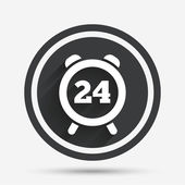 24 hours time sign icon Clock alarm symbol Customer support service Circle flat button with shadow and border Vector
