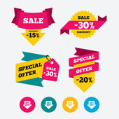 Sale arrow tag icons Discount special offer symbols 10% 20% 30% and 40% percent off signs Web stickers banners and labels Sale discount tags Special offer signs Vector