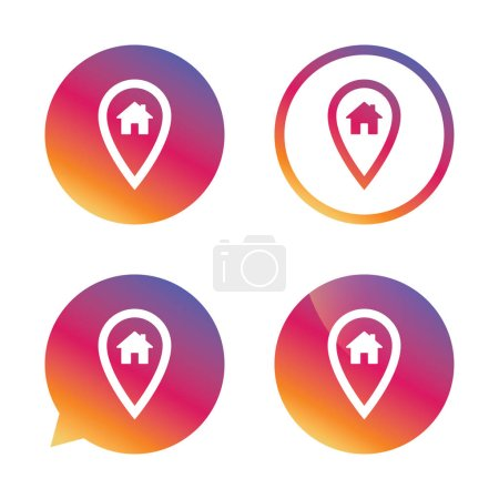 Illustration for Map pointer house sign icon. Home location marker symbol. Gradient buttons with flat icon. Speech bubble sign. Vector - Royalty Free Image
