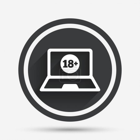 Adults content laptop sign icon