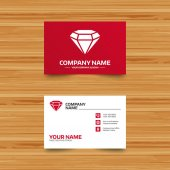 Business card template Diamond sign icon Jewelry symbol Gem stone Phone globe and pointer icons Visiting card design Vector