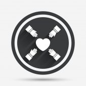 Hands reach for heart sign icon Save life symbol Circle flat button with shadow and border Vector
