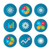 Business pie chart Growth curve Presentation buttons Snowflakes artistic icons Air conditioning signs Christmas and New year winter symbols Data analysis Vector