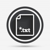 Text file icon Download txt doc button Txt file extension symbol Circle flat button with shadow and border Vector