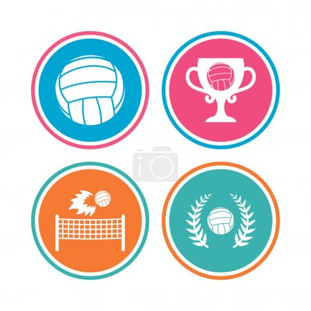 Volleyball and net icons.