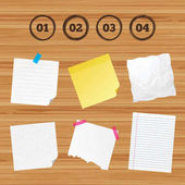 Business paper banners with notes Step one two three and four icons Sequence of options symbols Loading process signs Sticky colorful tape Vector