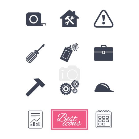 Illustration for Repair, construction icons. Helmet, screwdriver and hammer signs. Gears, painting spray and attention symbols. Report document, calendar icons. Vector - Royalty Free Image