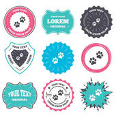 Label and badge templates Paw sign icon Dog pets steps symbol Retro style banners emblems Vector