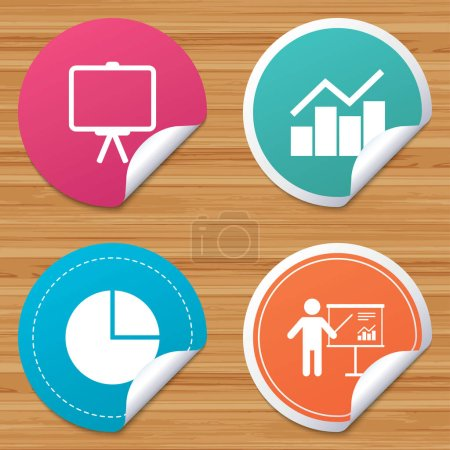 Illustration for Round stickers or website banners. Diagram graph Pie chart icon. Presentation billboard symbol. Man standing with pointer sign. Circle badges with bended corner. Vector - Royalty Free Image