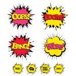 Comic Boom, Wow, Oops sound effects. Speech bubble...