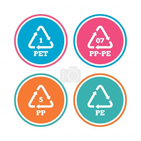 PET 1, PP-pe 07, PP 5 and PE icons