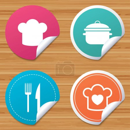 Chief hat, cooking pan icons