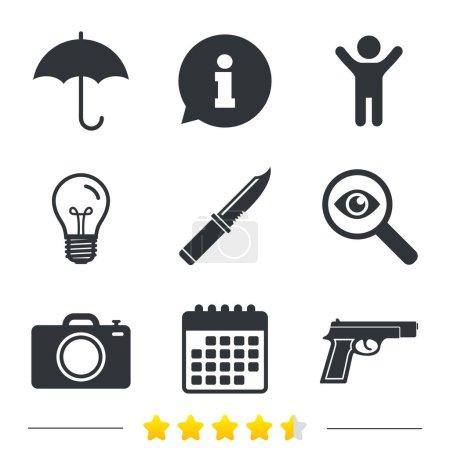 Gun weapon. Knife, umbrella and photo camera.