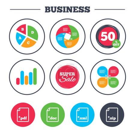 Business pie chart. Growth graph. Download documen...
