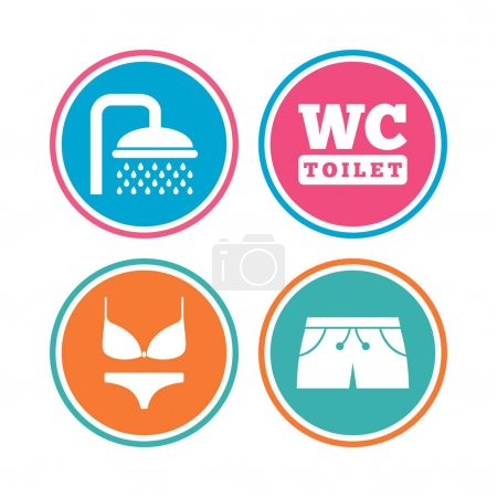 Swimming pool ,shower and swimwear signs.