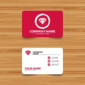 Business card template with texture Diamond sign icon Jewelry symbol Gem stone Phone web and location icons Visiting card  Vector