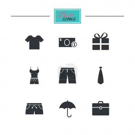 Clothing, accessories icons set