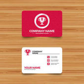 Business card template with texture Baseball bats and ball sign icon Sport hit equipment symbol Winner award cup Phone web and location icons Visiting card set  Vector illustration