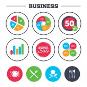 Business pie chart icons Growth graph Plate dish with forks and knifes icons Chief hat sign Crosswise cutlery symbol Dining etiquette Super sale and discount buttons Vector illustration