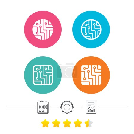 Illustration for Circuit board icons. Technology scheme circles and squares sign symbols. Calendar, cogwheel and report linear icons. Star vote ranking. Vector illustration - Royalty Free Image