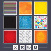 Yellow background Carbon fiber texture Mosaic and low poly design Information icons Delete and question FAQ mark signs Approved check mark symbol Abstract backgrounds Vector illustration