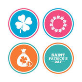 Saint Patrick day icons Money bag with coin and clover sign Wreath of quatrefoil clovers Symbol of good luck Colored circle buttons Vector illustration
