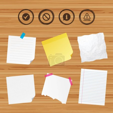 Business paper banners with notes. Information icons.