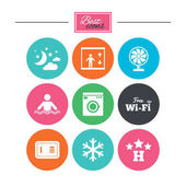 Hotel apartment service icons Washing machine Wifi air conditioning and swimming pool symbols Colorful flat buttons with icons Vector illustration