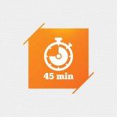 Timer sign icon 45 minutes stopwatch symbol Orange square label on pattern Vector illustration