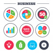 Business pie charts. Usb flash drive icons. Notebo...