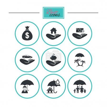 Illustration pour Icônes d'assurance. Vie, Immobilier et Maison signes. Sac d'argent, famille et symboles de voyage. Boutons plats ronds avec icônes. Vecteur - image libre de droit