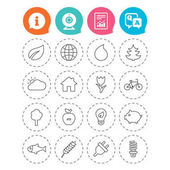 Nature and Eco icons Trees leaf and tulip or rose flower Planet and water drop Energy saving lamp electric plug and house building Information question and answer icons Vector