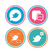 Birds icons Social media speech bubble Chat bubble with three dots symbol Colored circle buttons Vector illustration