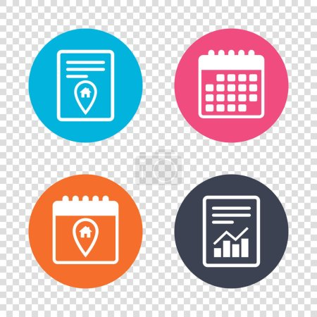 Illustration for Report document, calendar icons. Map pointer house sign icons. Home location marker symbols. Transparent backgrounds. Vector illustration - Royalty Free Image
