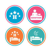 Five stars hotel icons Travel rest place symbols Human sleep in bed sign Hotel check-in registration or reception Colored circle buttons Vector