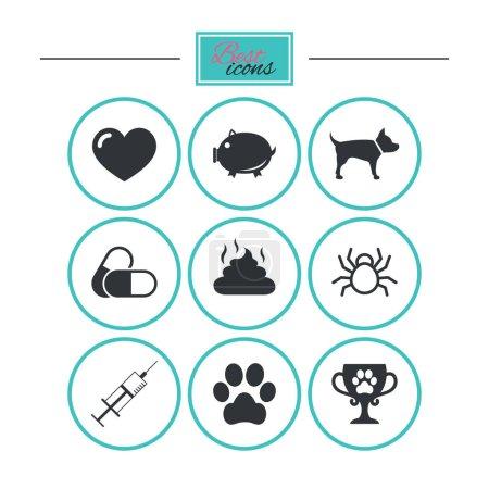 Illustration pour Vétérinaire, animaux de compagnie icônes. Patte de chien, seringue et signes de la tasse gagnante. Pilules, symboles du cœur et des selles. Boutons plats ronds avec icônes. Vecteur - image libre de droit