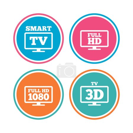 Smart TV mode icons. 3D Television symbol.