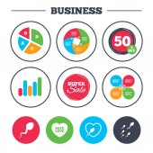 Set of business icons Business pie chart Growth graph Smartphone icons Shield protection repair software bug signs Vector illustration